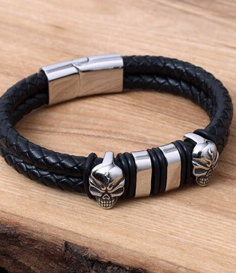 Konifer Leather and Stainless Bracelet #KC018BK