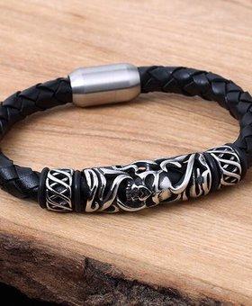 Konifer Leather and Stainless Bracelet #KC017