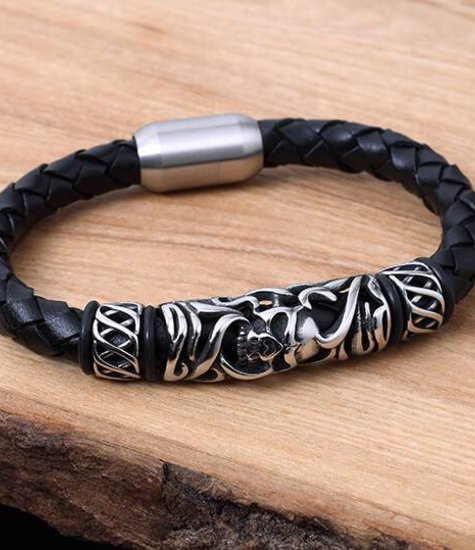 Leather and Stainless Bracelet #KC017