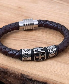 Leather and Stainless Bracelet #KC016BR