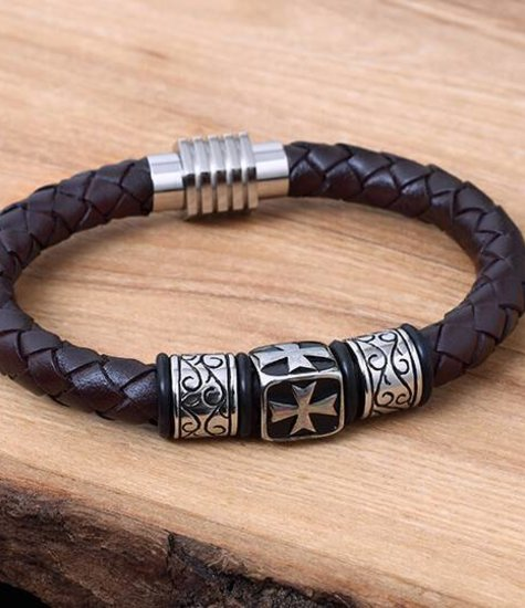 Konifer Leather and Stainless Bracelet #KC016BR