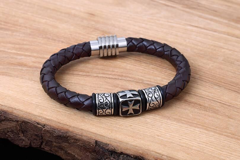 Bracelet de Cuir et Stainless #KC016BR