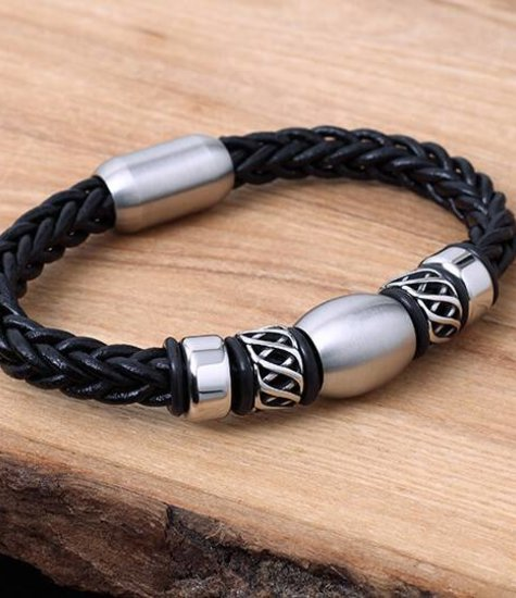 Leather and Stainless Bracelet #KC015BK