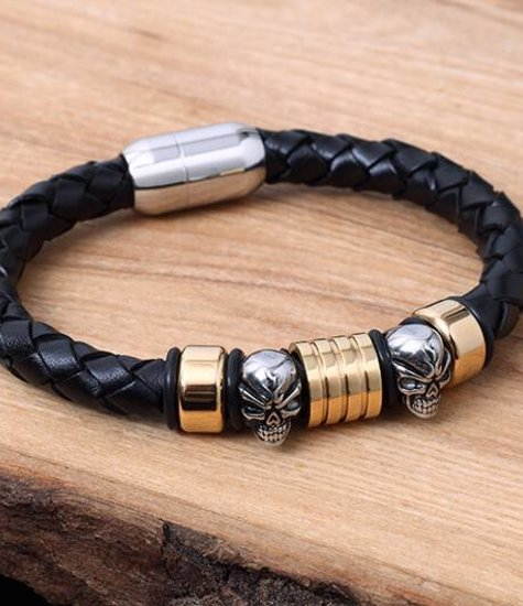 Konifer Leather and Stainless Bracelet #KC014BK