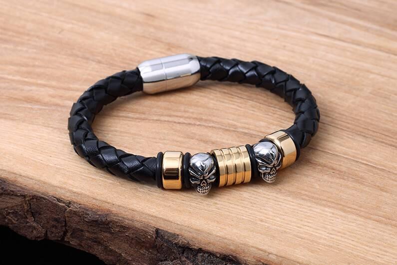 Konifer Bracelet de Cuir et Stainless #KC014BK