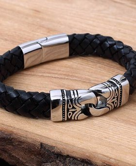Leather and Stainless Bracelet #KC013BK