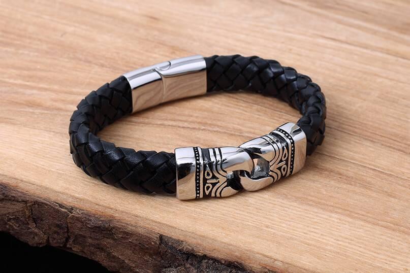 Konifer Leather and Stainless Bracelet #KC013BK