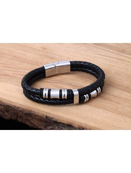 Konifer Bracelet de Cuir et Stainless #KC012BK