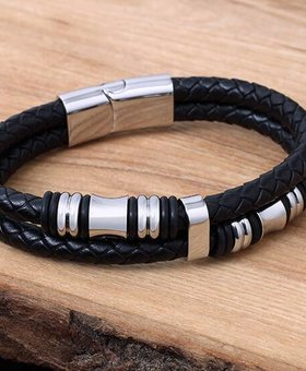Leather and Stainless Bracelet #KC012BK