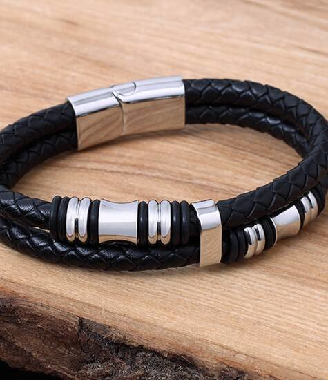 Konifer Leather and Stainless Bracelet #KC012BK