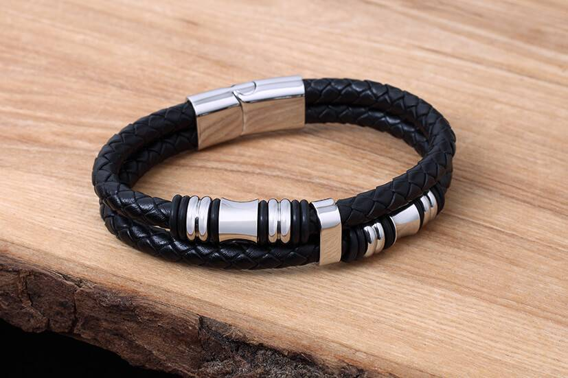Bracelet de Cuir et Stainless #KC012BK