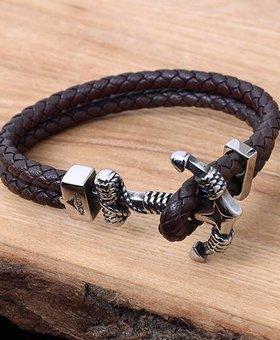 Konifer Leather and Stainless Bracelet #KC011BR