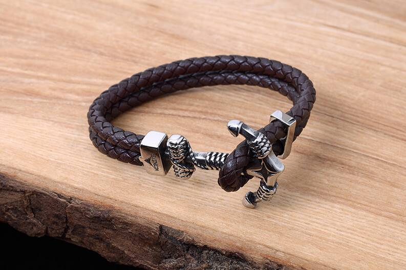 Leather and Stainless Bracelet #KC011BR
