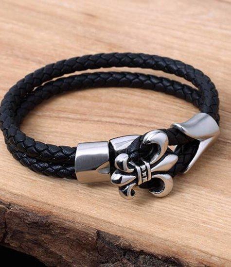 Konifer Leather and Stainless Bracelet #KC010BK