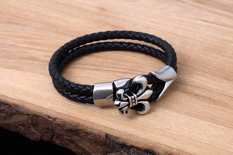 Konifer Bracelet de Cuir et Stainless #KC010BK