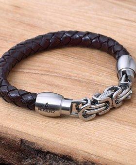 Bracelet de Cuir et Stainless #KC009BR