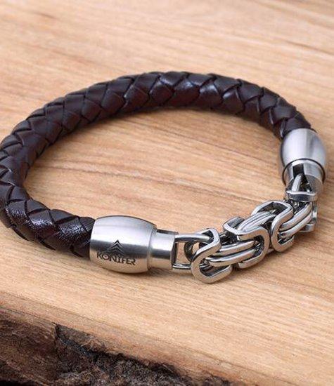 Konifer Bracelet de Cuir et Stainless #KC009BR
