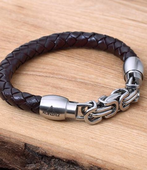 Konifer Leather and Stainless Bracelet #KC009BR