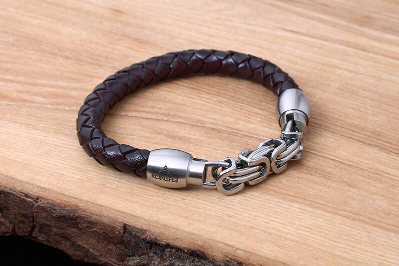 Leather and Stainless Bracelet #KC009BR