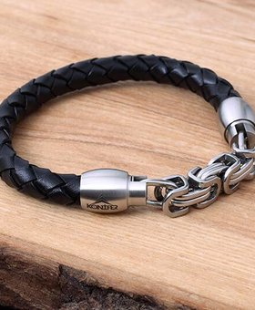 Leather and Stainless Bracelet #KC009BK