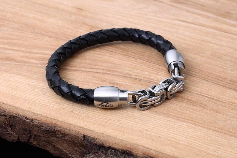 Konifer Bracelet de Cuir et Stainless #KC009BK
