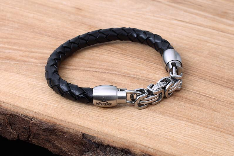 Konifer Leather and Stainless Bracelet #KC009BK