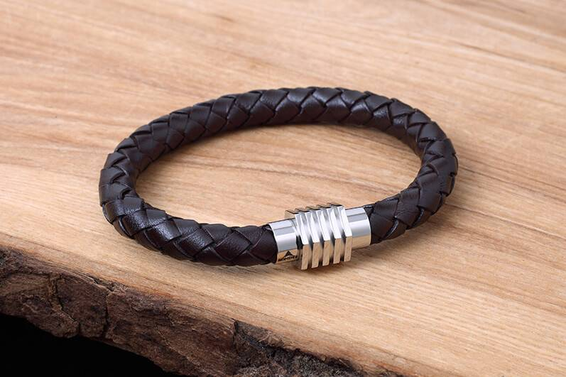 Leather and Stainless Bracelet #KC008BR