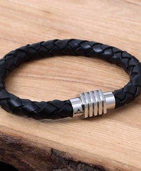 Bracelet de Cuir et Stainless #KC008BK