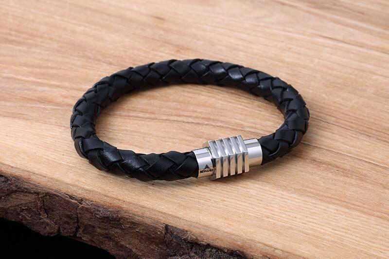 Konifer Leather and Stainless Bracelet #KC008BK