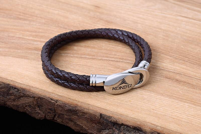 Konifer Leather and Stainless Bracelet #KC007BR