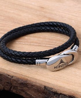 Leather and Stainless Bracelet #KC007BK