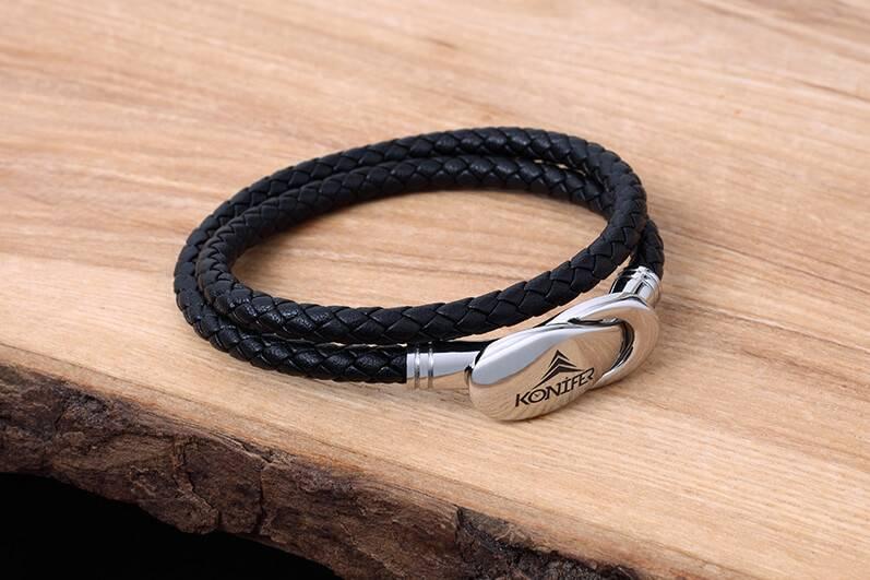 Konifer Bracelet de Cuir et Stainless #KC007BK