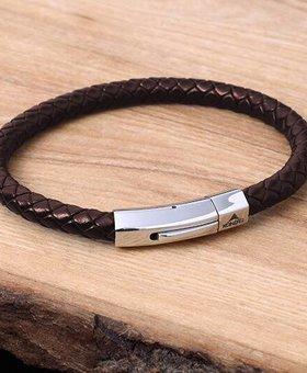 Konifer Bracelet de Cuir et Stainless #KC006BR