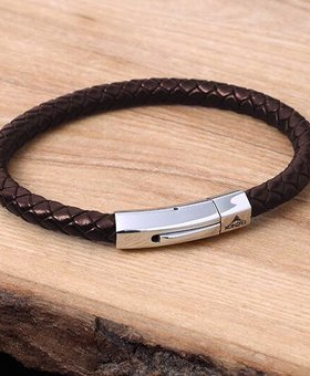 Leather and Stainless Bracelet #KC006BR