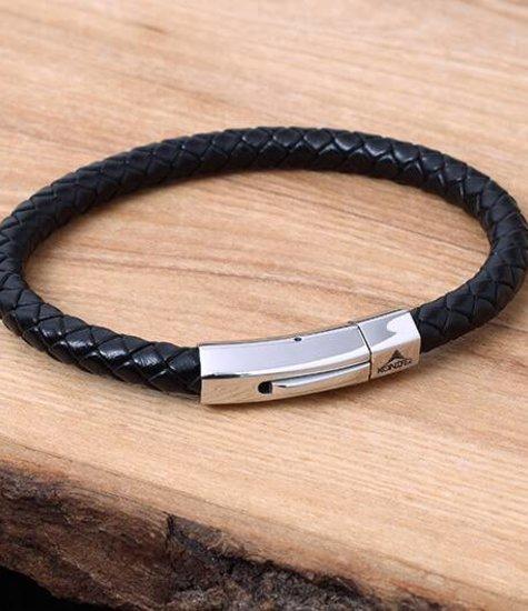 Konifer Bracelet de Cuir et Stainless #KC006BK