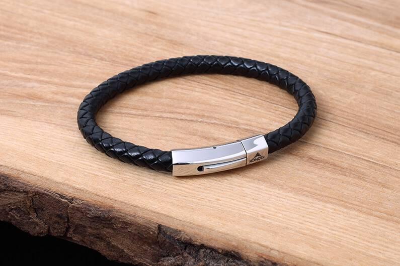 Konifer Leather and Stainless Bracelet #KC006BK