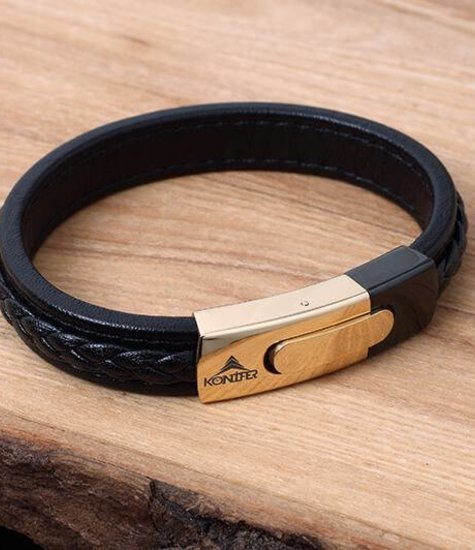 Konifer Bracelet de Cuir et Stainless #KC005BK