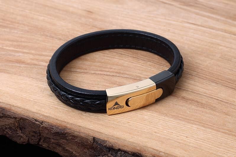 Konifer Leather and Stainless Bracelet #KC005BK