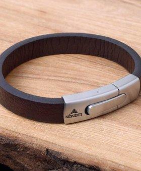 Konifer Leather and Stainless Bracelet #KC004BR