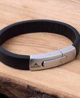 Konifer Bracelet de Cuir et Stainless #KC004BK