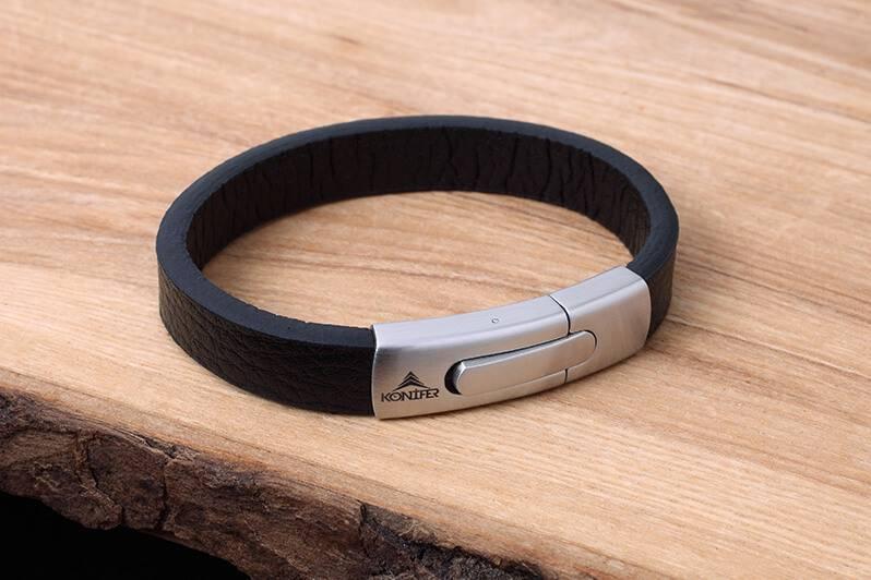 Konifer Leather and Stainless Bracelet #KC004BK
