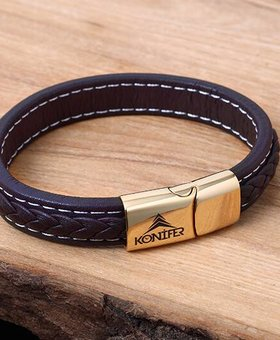 Konifer Leather and Stainless Bracelet #KC003BR