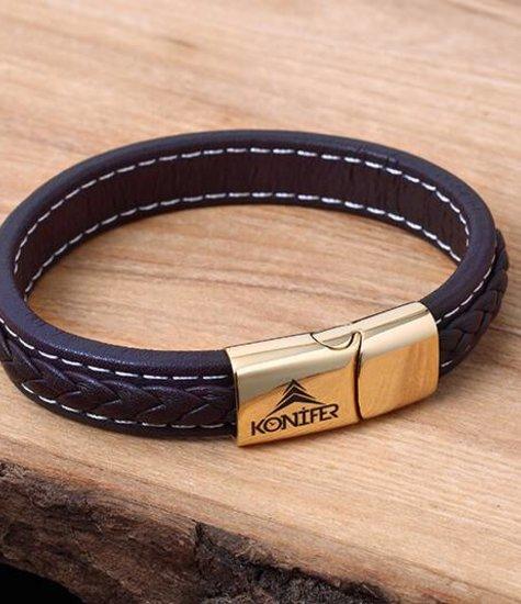 Konifer Bracelet de Cuir et Stainless #KC003BR