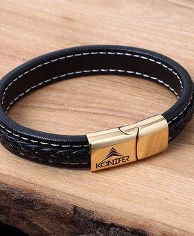Konifer Leather and Stainless Bracelet #KC003BK