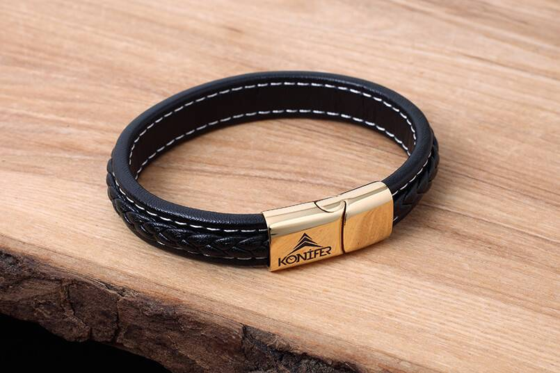 Konifer Leather and Stainless Bracelet #KC003BK