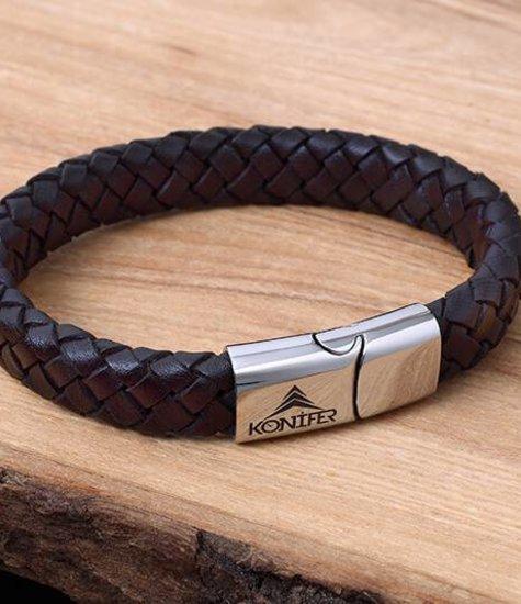 Konifer Leather and Stainless Bracelet #KC002BR