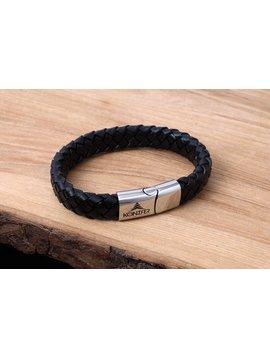 Konifer Bracelet de Cuir et Stainless #KC002BK