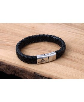 Leather and Stainless Bracelet #KC002BK