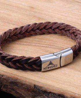 Konifer Leather and Stainless Bracelet #KC001BR