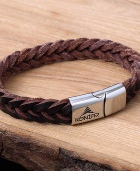 Leather and Stainless Bracelet #KC001BR